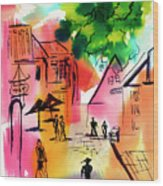 Summer Strolling Wood Print