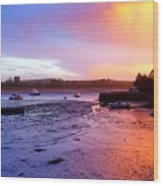 Summer Sunset At Low Tide Wood Print