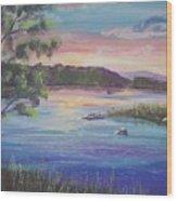 Summer Sunset On Fish Lake Wood Print