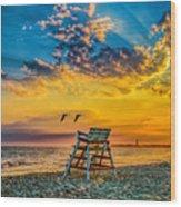 Summer Sunset On The Beach Wood Print