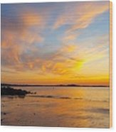 Summer Sunset Over Ipswich Bay Wood Print