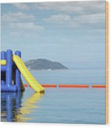 Summer Vacation Scene With Water Slide  Wood Print