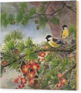 Summer Vine With Pine Tree Wood Print
