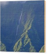 Summer Waterfall Behind Hanalei Bay Wood Print