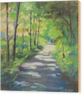 summer woods at Kenoza Lake Wood Print by Leslie Alfred McGrath