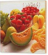 Summertime Fruit On White Wood Print
