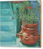Summertime Geraniums In Santa Monica Wood Print
