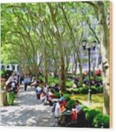 Summertime In Bryant Park Wood Print