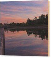 Summit Lake Reflected Sunset   Wood Print