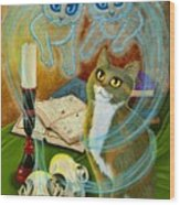Summoning Old Friends - Ghost Cats Magic Wood Print