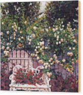 Sumptous Cascading Roses Wood Print by David Lloyd Glover