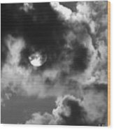 Sun And Clouds - Grayscale Wood Print