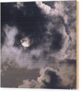 Sun And Clouds Wood Print