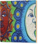 Sun And Moon Wood Print