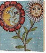 Sun And Moon Wood Print