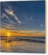 Sun And Surf Wood Print