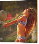 Sun Beach Girl Wood Print