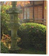 Sun Beams Over Japanese Stone Lantern Wood Print