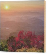 Sun Burst, Cherry Blossoms And Mountain Layers Wood Print