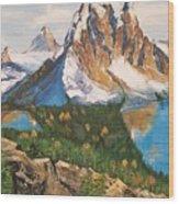 Sun Burst Peak Canada  Wood Print