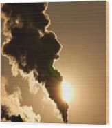 Sun Covered With Soot - Air Pollution Wood Print