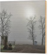 Sun Filtered Through Fog Wood Print