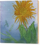 Sun Flower And Dragonflies  At Dusk Wood Print