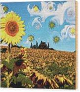 Sun Flowers Field Wood Print