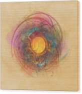 Sun Fractal Abstract Art Wood Print