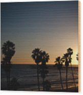 Sun Going Down In California Wood Print
