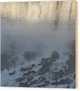 Sun Going Down On American Falls Wood Print