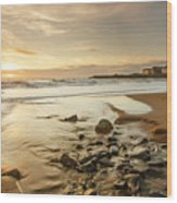 Sun Going Down Over Spanish Point Wood Print