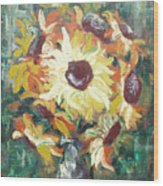 Sun In A Vase Wood Print