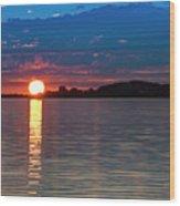 Sun Is Setting Over Port Hood Island Wood Print