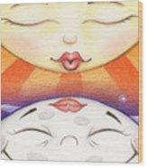 Sun Kissed Moon Wood Print