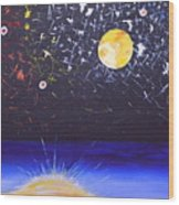 Sun Moon And Stars Wood Print by Donna Blossom