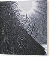 Sun Over Barbed Wire Wood Print