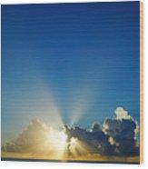 Sun Ray Sunrise Wood Print