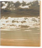 Sun Rays And Clouds Over Santa Cruz Wood Print