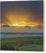 Sun Rays At Long Beach Washington During Sunset Wood Print
