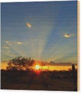 Sun Rays At Sunset With Tree And Saguaro Wood Print