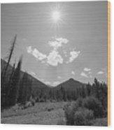 Sun Rays In Yellowstone Bw Wood Print