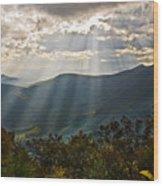 Sun Rays Linville Falls Nc Wood Print