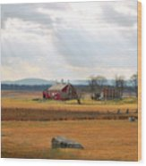 Sun Rays On Codori Farm. Wood Print