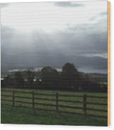Sun Rays Over Irish Landscape Wood Print