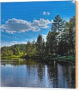 Sun Reflecting On The Moose River Wood Print