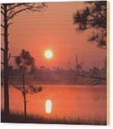 Sun Rise At Red Lake Grayton Beach State Park Florida Wood Print