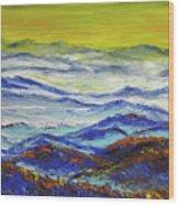 Sun Rise Blue Mountain Wood Print