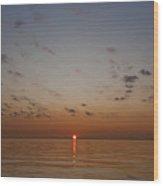 Sun Rise On Lake Michgan Wood Print