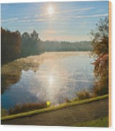 Sun Rising Over Lake Inspiration Wood Print
